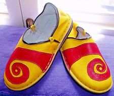FUNKY LEATHER MOROCCAN BABOUCHE SLIPPERS 12/46 YELLOW
