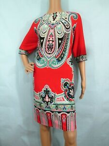 STUDIO I Red/Multi Paisley/Floral Elbow-Sleeve Jersey Sheath Dress, Size 16