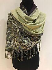 Pashmina Winter Brown Floral Design Shawl Scarf Wrap Large Size