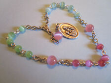 Rosary Chaplet of Saint Anne, St Ann Multicolor Cats Eye Glass Patron Mothers