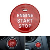 Red Real Carbon Fiber Engine Push Start Button For Subaru BRZ Crosstrek WRX STI