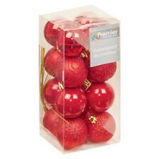 Christmas Tree Decoration 16 Pack 50mm Shatterproof Baubles Red