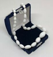 Vintage 60s Necklace White Milk Glass Graduated Knotted Beads Glam Costume Retro