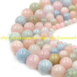 Natural 6/8/10、12mm Multicolor Morganite Round Gemstone Loose Beads 15'' Strand