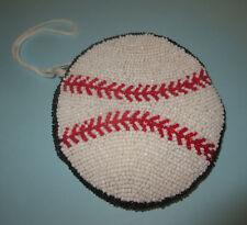 Baseball Beaded Coin Purse New Sports Softball White Black Red