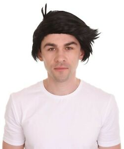 Black Short Wig Cosplay Fred Flintstone Halloween Party Fancy Dress Hair HM-1125