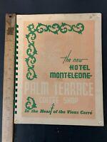 Vtg Hotel Monteleone Palm Terrace Restaurant Menu New Orleans Louisiana 1950's