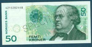 Rare Norway Specimen 50 Kroner Femti Kroner Pick 40cs Pick S1 2003 Norges Bank