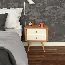 Copenhagen Bedside Table - 2 Drawer - American Oak / White