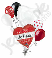 7 pc Je T'Aime French I Love You Heart Valentines Day Balloon Bouquet Be Mine