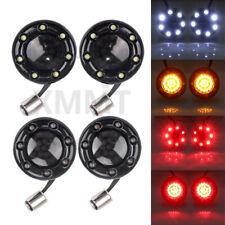 4X Bullet 1157 LED Turn Signal Light Gloss Black Fire Ring 4 Harley Dyna Softail