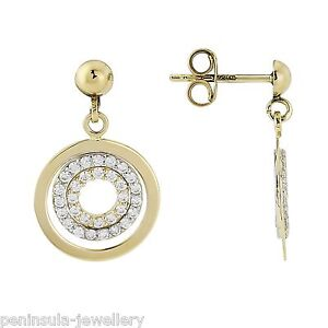 9ct Gold CZ round Drop earrings, Hallmarked Gift Boxed Birthday Gift