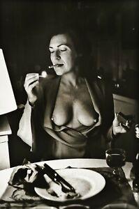 1972 HELMUT NEWTON Dining Wife JUNE Female Nude Breast Cigarette Photo Art 12X16
