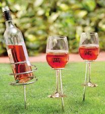 Wine Bottle and Wine Glass Holder Set - For Picnics and Garden Dining Vine Drink