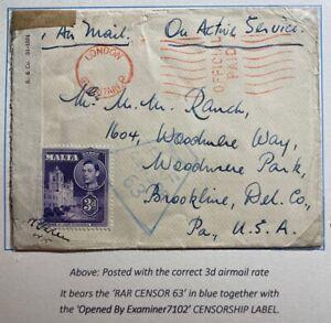 1940s Malta RAF Censored On Active Service Cover To Brookline PA USA Via Engoand