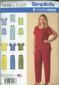 Misses Pants Tops Shorts Simplicity #1446 Sizes 18W - 24W Uncut Easy