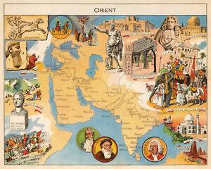"""Decorative Map of Arabian Peninsula, Persia, India 11""""x14"""" Wall Art Print Decor"""