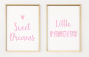 Sweet Dreams Little Princess Pink Kids Baby Nursery Poster Print A4 x 2 PR72