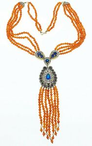 Sterling silver and gemstones Moroccan Berber Statement Necklace WOW