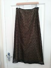 Wallis Womens  Black/gold Sequined Lace Maxi Skirt Size 10 Petite Lenght 36 inch
