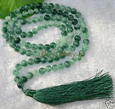 8mm Natural Green Jade Tibet Buddhist 108 Prayer Beads Mala Necklace meditation