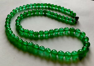 "Fabulous Natural Genuine Vivid Emerald Green Jadeite Jade Bead Necklace 22"" 14k"