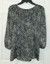 Spense Sz S Womens Black Print Satin Top 3/4 Sleeve Blouse