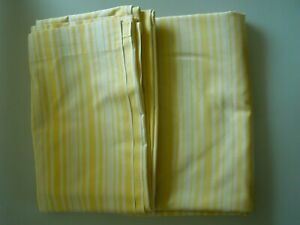2 VINTAGE YELLOW CANDY STRIPE SINGLE FLAT BED SHEETS ST MICHEALS TERYLENE COTTON