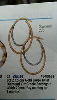 9ct 2 colour gold large twist diamond cut creole earrings RRP £84.99