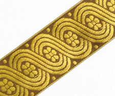 Metallic Gold on Brown Celtic Sewing Ribbon. Jacquard Trim. Celtic Scrolls