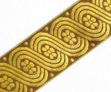 Metallic Gold on Brown Celtic Sewing Ribbon. Jacquard Trim. Celtic Scrolls