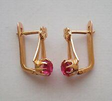 Russian Russia Soviet USSR 14K 583 rose pink gold Ruby EARRINGS 14kt 3 grams