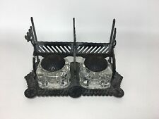 Vintage Cast Iron Art Deco Inkwell Stand With 2 Glass Inkwells