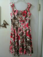 Maggy London - Multi-color Floral Sleeveless Dress  -  Size 8  -  Cotton/Spandex