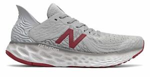 New Balance Men's Fresh Foam 1080v10 Shoes Grey with Red & White