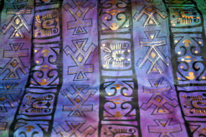 AFRICAN SYMBOLS IN GOLD, PURPLE AND BLACK -  COTTON FABRIC
