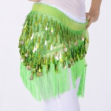 Newly Dance Hip Scarf Belly Dancing Triangle Sequin Tassel Mesh Waist Wrap Skirt