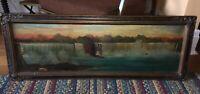 Victorian tour era folk art NIAGARA FALLS panorama painting New York side framed