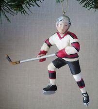 Hockey Player Ornament Christmas Male Youth  KSA Kurt S Adler White Black New