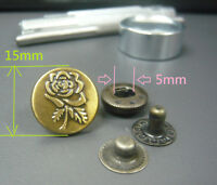 15mm embossed Rose Poppers Snap fasteners Press studs Buttons + 1 hand held Tool