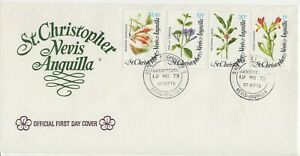ST KITTS NEVIS 1979 FIRST DAY COVER TROPICAL FLOWERS