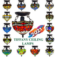 Stunning Tiffany Style Ceiling Lamps Handcrafted Art Stained Glass Decoration UK
