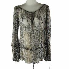 Blumarine Blouse Brown Gray Leopard Print Light Long Sleeve Top Size US S