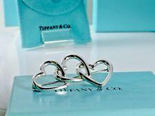 Vtg. Tiffany & Co. Sterling Silver Triple 3  Interlocking Open Hearts Brooch Pin