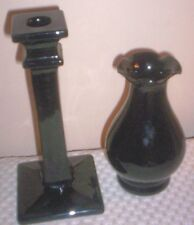 Black Amethyst Glass Candle Stick Holder and Ruffle Top  Vase