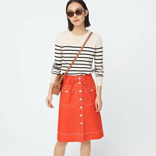NWT J.Crew Button-up Skirt Removable Belt Stretch Linen 4P 6P Small Petite $118