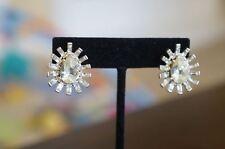 "Silver Crystal Teardrop Button 1.5"" Earrings New Erickson Beamon Rocks Goth Girl"