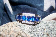 5.20CT - MEN'S AA BLUE KYANITE/WHITE ZIRCON RING - PLATINUM/925 STERLING SILVER