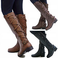 Women Riding Leather Mid Calf Boots Ladies Block Low Heels Lace Up Boots Shoes