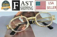 Hip Hop Quavo Migos Diamond Bling Clear Metal Gold Frame Shades Glasses Iced Out